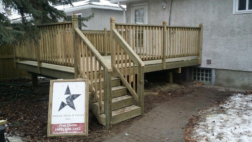 Pressure Treated Deck 12x16 With 2x6 Railing And Simple Stairs