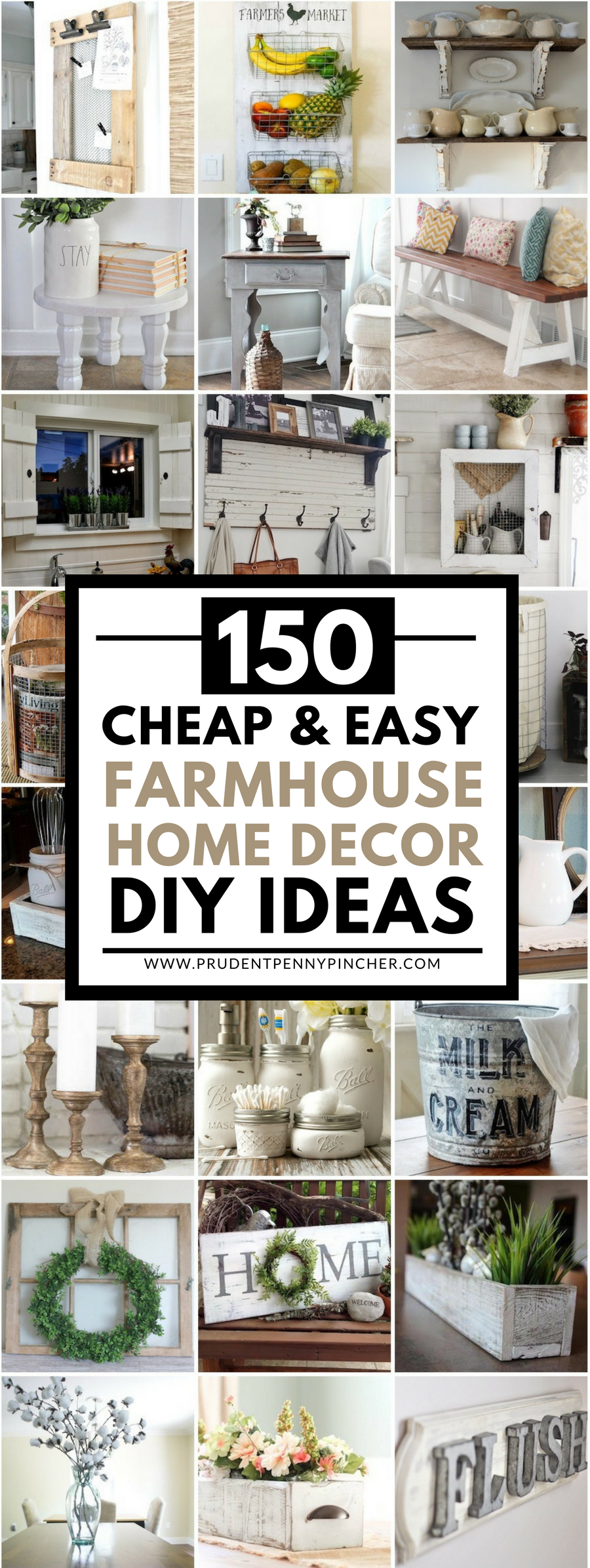 150 Cheap and Easy DIY Farmhouse Style Home Decor Ideas | Decorating ...