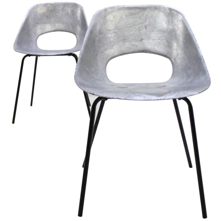 a pair of aluminium tulipe chairs by pierre guariche side chair