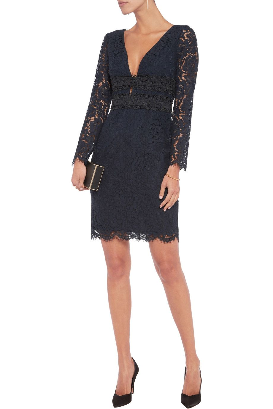 defe2f4317489 Shop on-sale Diane von Furstenberg Viera macramé lace-paneled corded lace  dress. Browse other discount designer Dresses   more on The Most  Fashionable ...