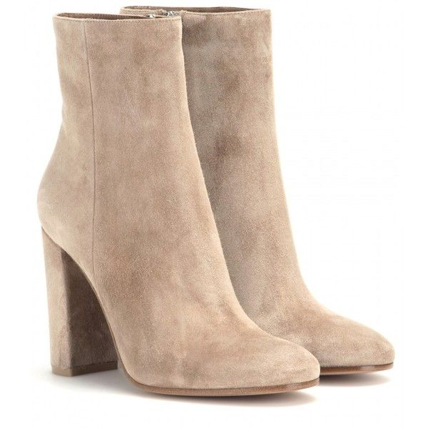 b8614fff10 ... liked on Polyvore featuring shoes, boots, ankle booties, heels, tan,  neutrals, suede bootie, short boots, suede leather boots and suede ankle  booties
