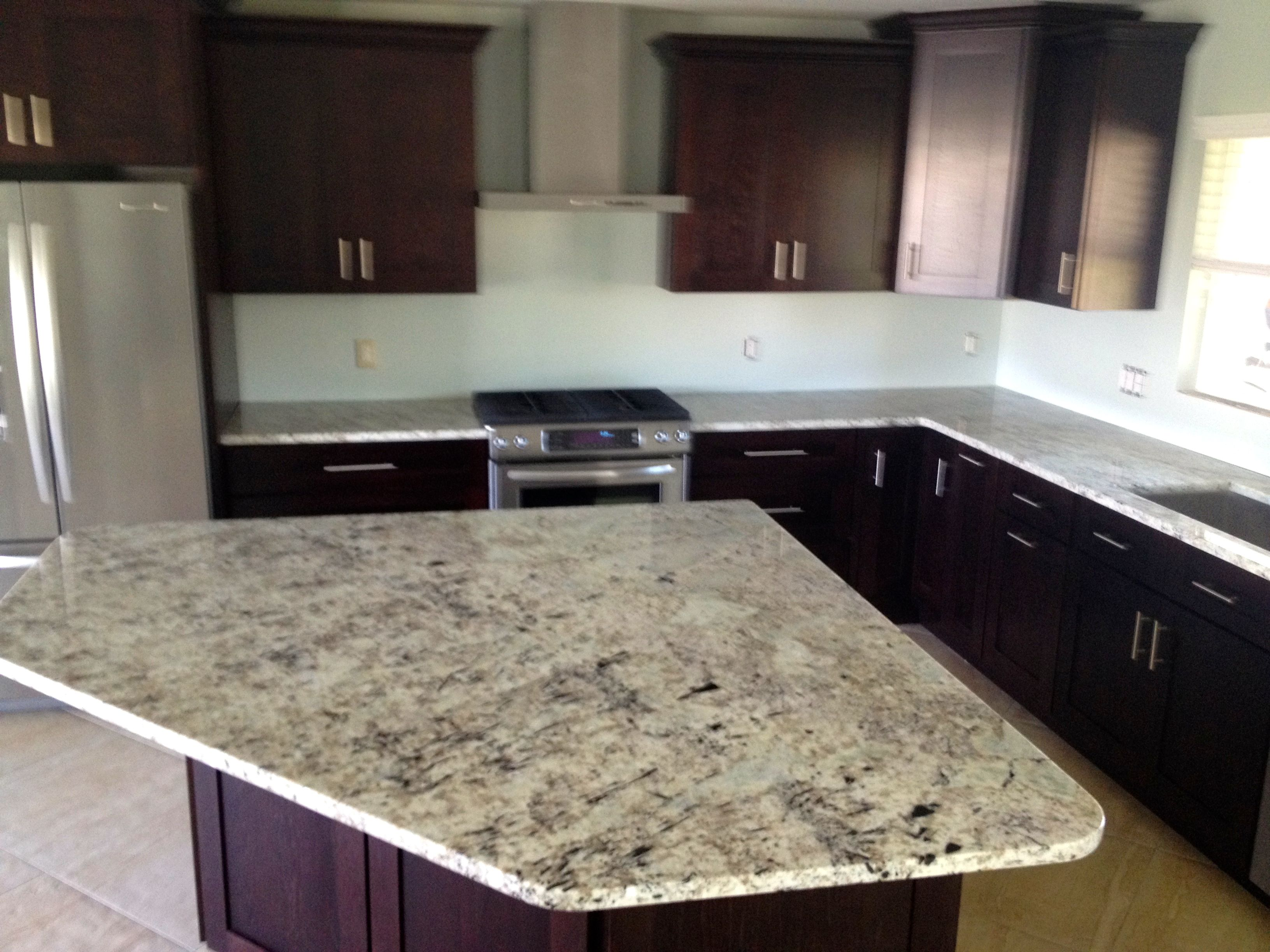 Mocha Shaker Cabinets Modern Hardware Galaxy White Granite Tops Backsplash Not Installed Yet Stainless Steel App White Counters Kitchen Kitchen Cabinets