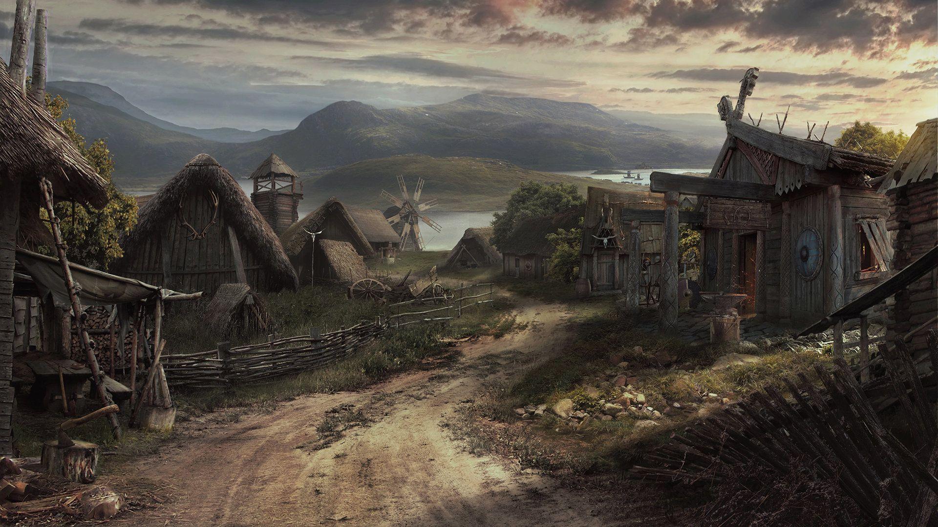 Viking Village Lukasz Wiktorzak Fantasy Town Fantasy Village Viking Village