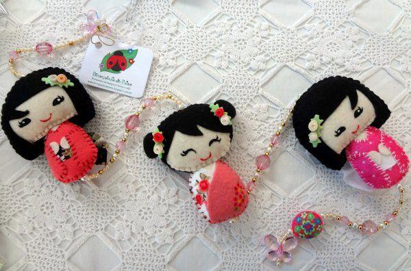 Brinquedo de Pano - Móbile Decorativo - Kokeshi (Japonesinha) -