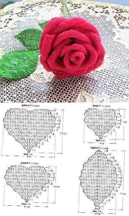 Petale De Trandafir Crochetflowers Petale De Trandafir Flower Making With Knitting Slices As Crochet Flower Patterns Crochet Rose Pattern Crochet Crafts
