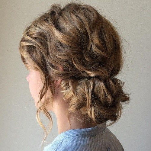 Low Curly Updo Medium Length Hair Styles Updos For Medium Length Hair Hair Lengths