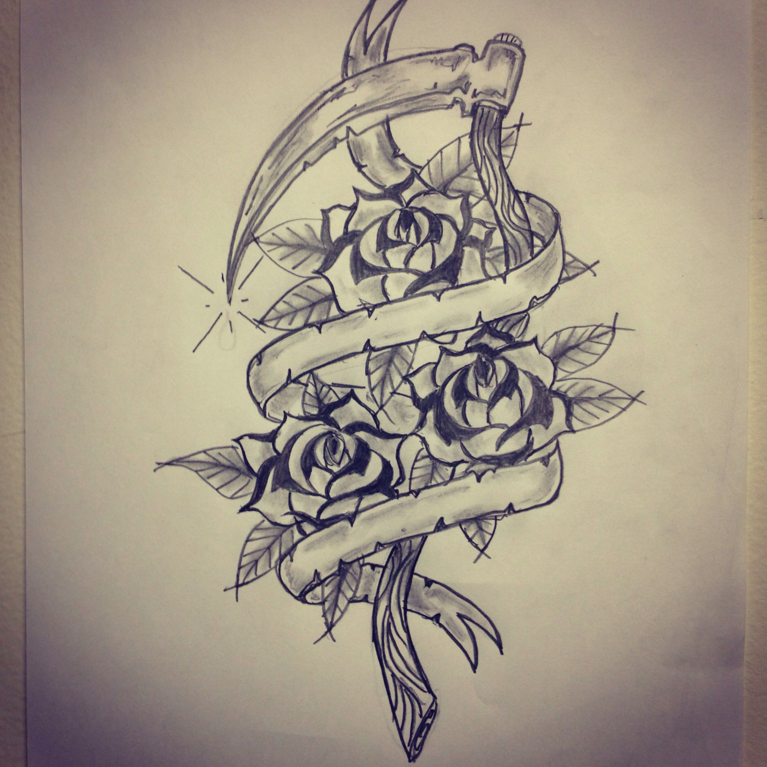Traditional Sickle Roses Banner Tattoo Sketch By Ranz Drawings Tattoos Tattoo Drawings Tattoo Sketches