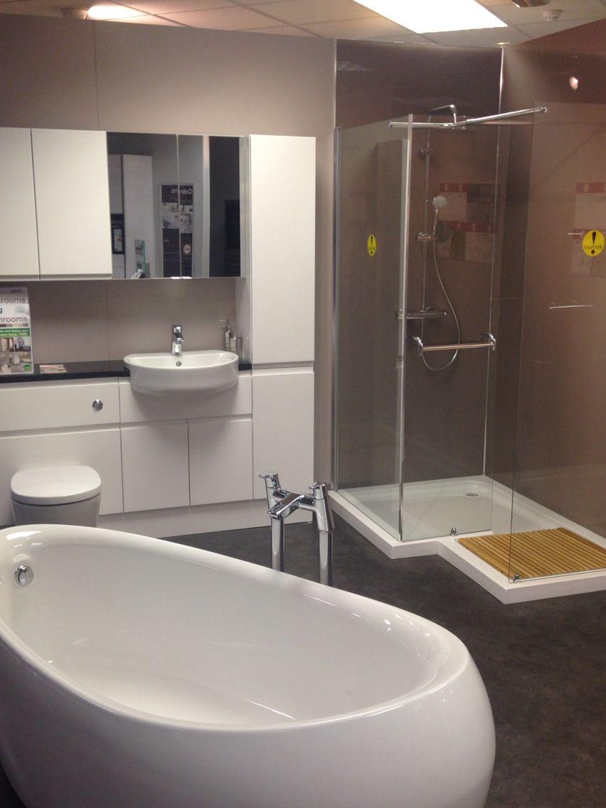Schreiber White Gloss Handless Vanity Unit, Aqualux L Shape Shower ...