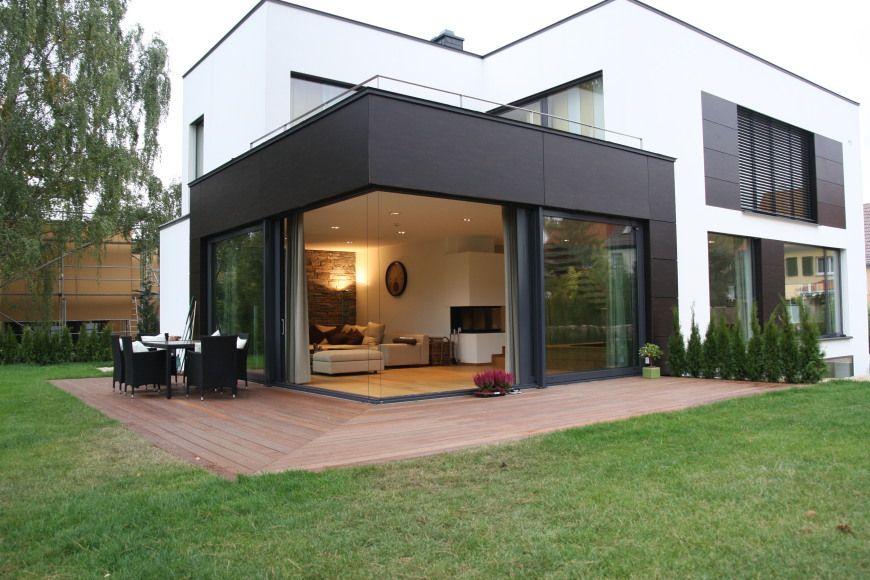 Blick von der gartenseite einfamilienhaus f haus for Haus modern flachdach