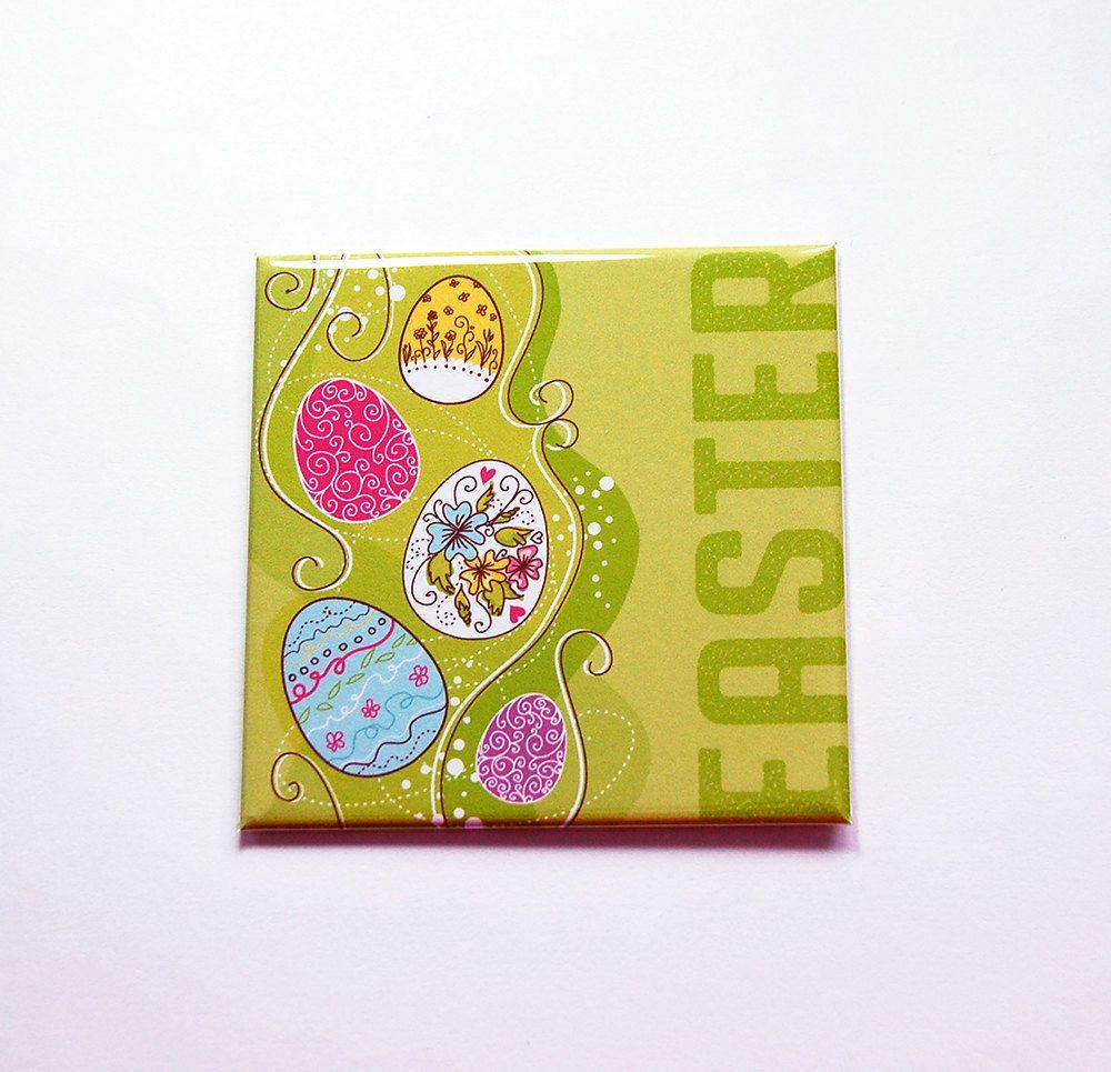 Happy Easter Magnet, Easter Egg Magnet, Magnet, Fridge magnet, Easter Eggs, Easter magnet, green, Easter basket gift, Easter gift (7391) by KellysMagnets on Etsy