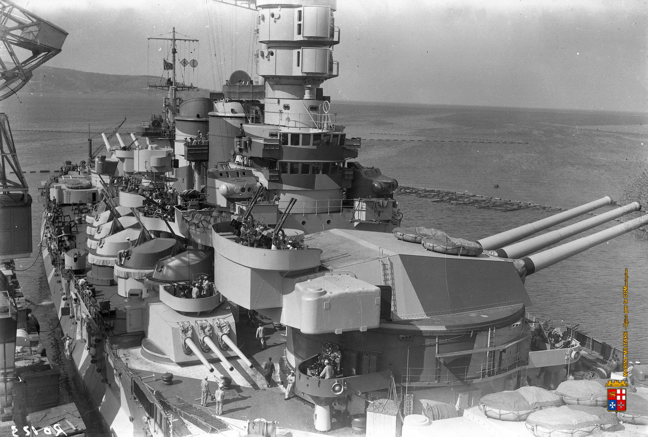 15 in battleship Roma, sister of Vittorio Veneto (see nearby): she was sunk en route to Malta in September 1943 by German radio controlled glider bombs to prevent her surrendering.  Third sister Italia (formerly Littorio) was damaged in similar fashion.