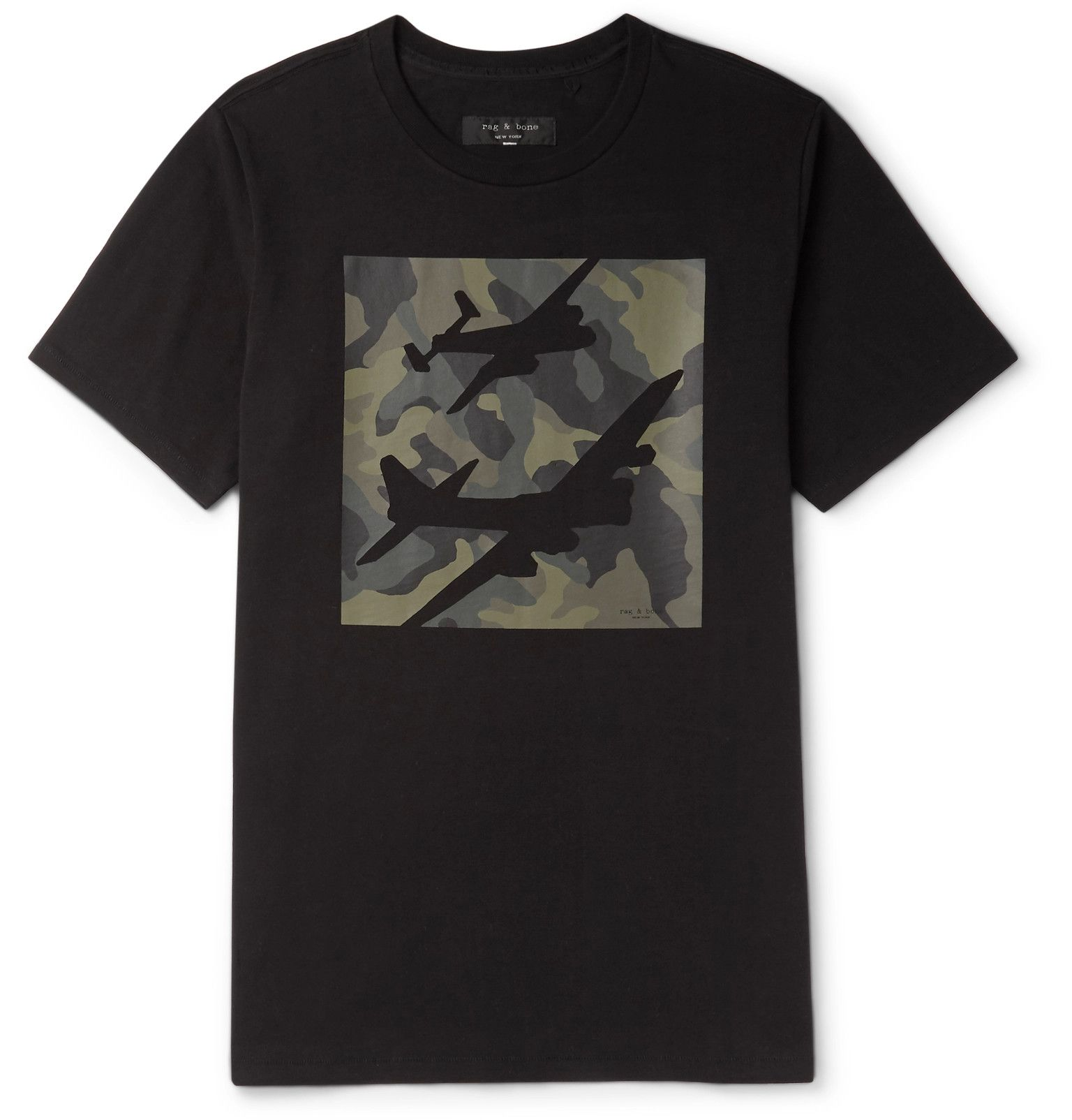 <b>Designed exclusively for MR PORTER.</b> <a href='http://www.mrporter.com/mens/Designers/Rag_and_bone'>rag & bone</a>'s black T-shirt is printed with a camouflage graphic that's detailed with cutout plane motifs. It's made from soft cotton-jersey and finished with a classic crew neck. Wear yours with dark denim.