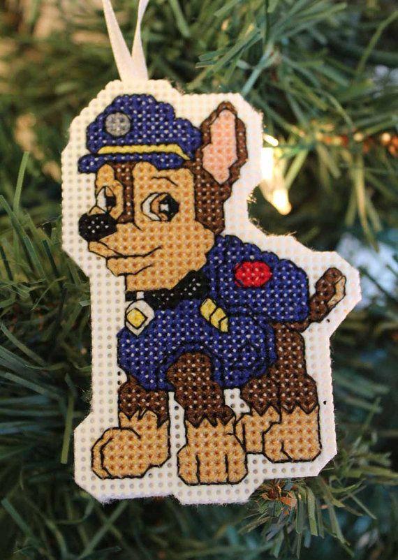 Paw Patrol Christmas Ornament.Handmade Cross Stitch Paw Patrol Chase Christmas Ornament
