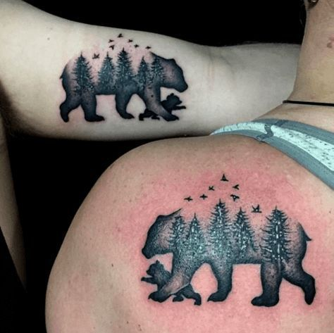 Photo of Mama Bear and Baby Bear matching tats for Mother and Son.