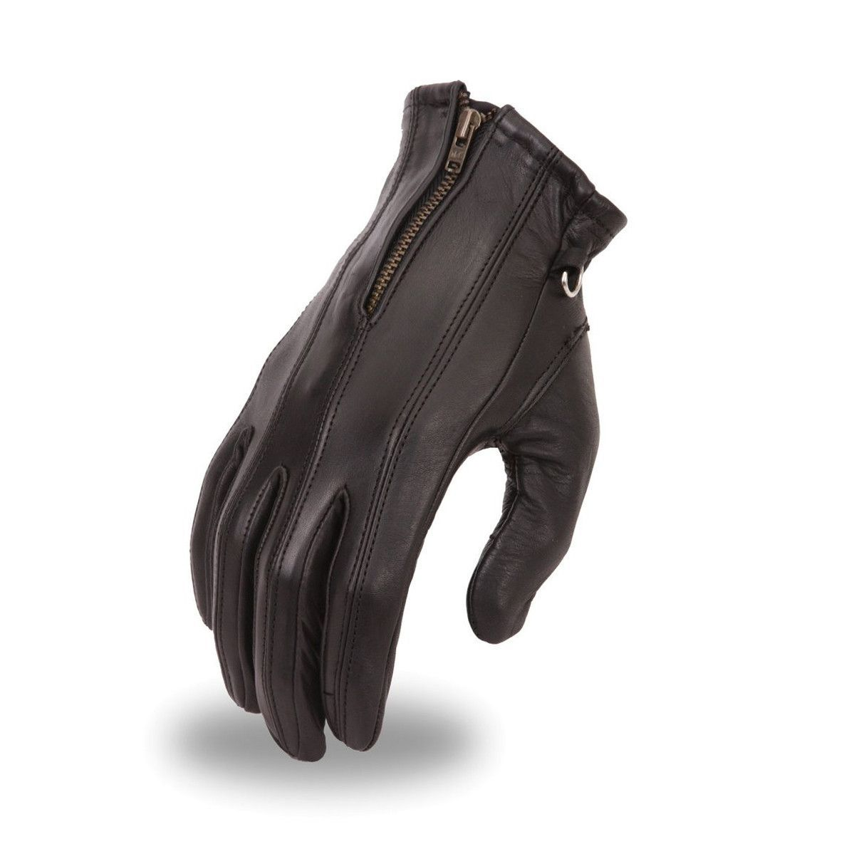 Leather driving gloves with zipper - Motorcycle Ladies Blk Soft Leather Gloves With Zipper Gel Palm