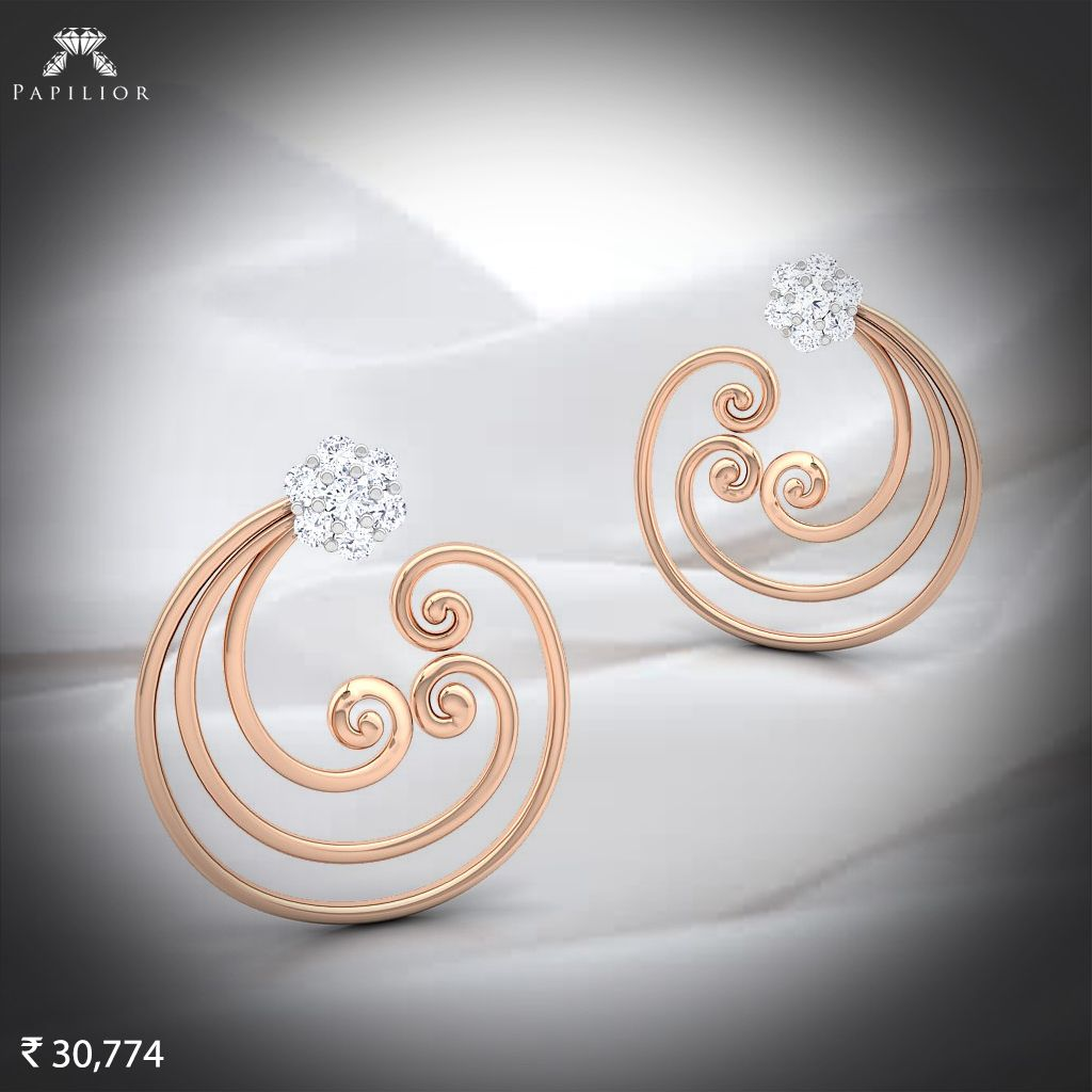 An Ethnic Touch With Diamond And Rose Gold Papilior Diamondearringprice Diamondearrings