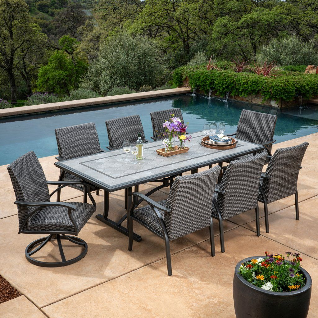 Indigo 9 Piece Woven Dining Set Patio Dining Set Dining Set Outdoor Dining Set
