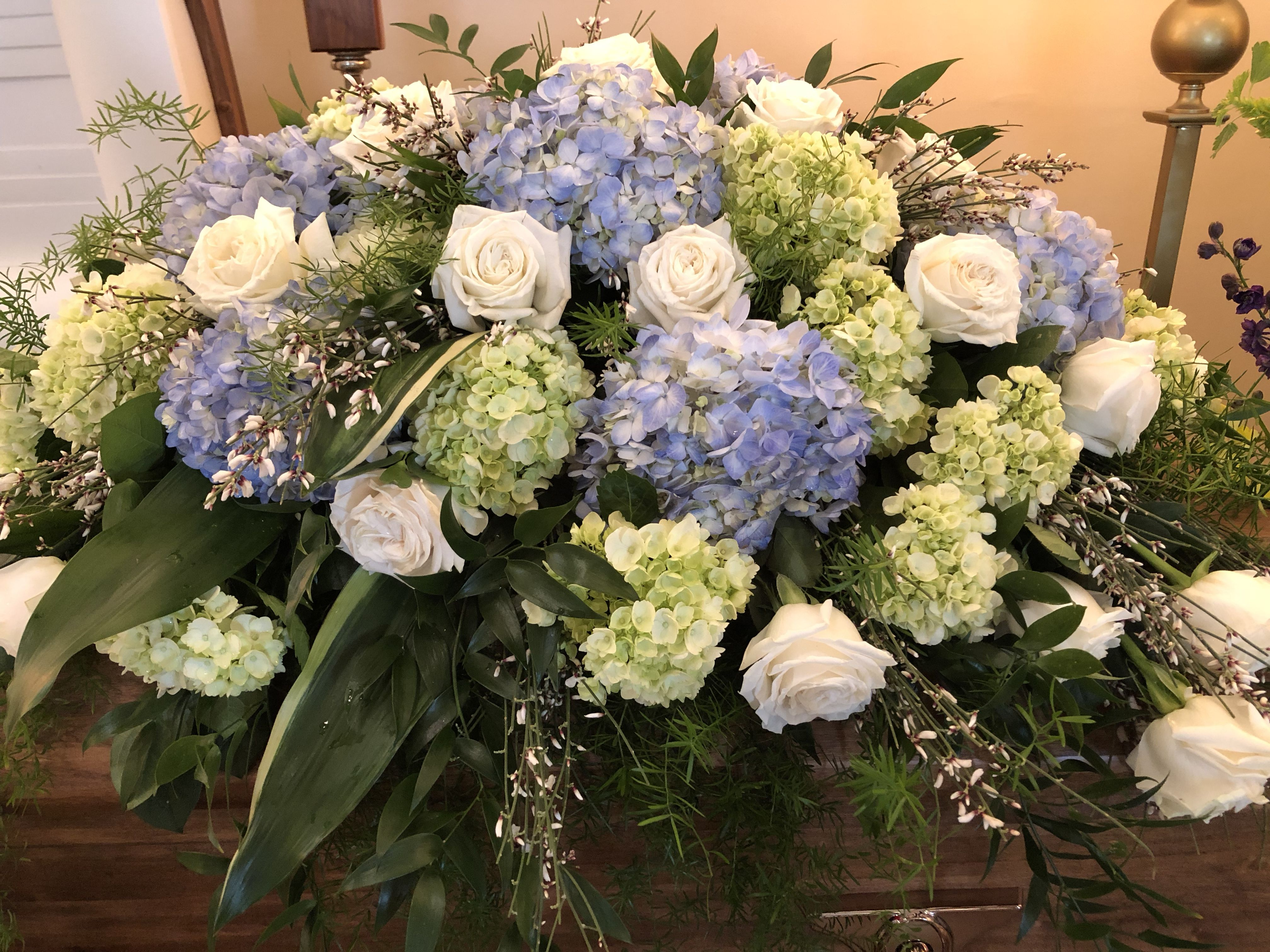 Hydrangea Rose Casket Spray Funeral Flower Arrangements Casket Flowers Hydrangea Flower Arrangements