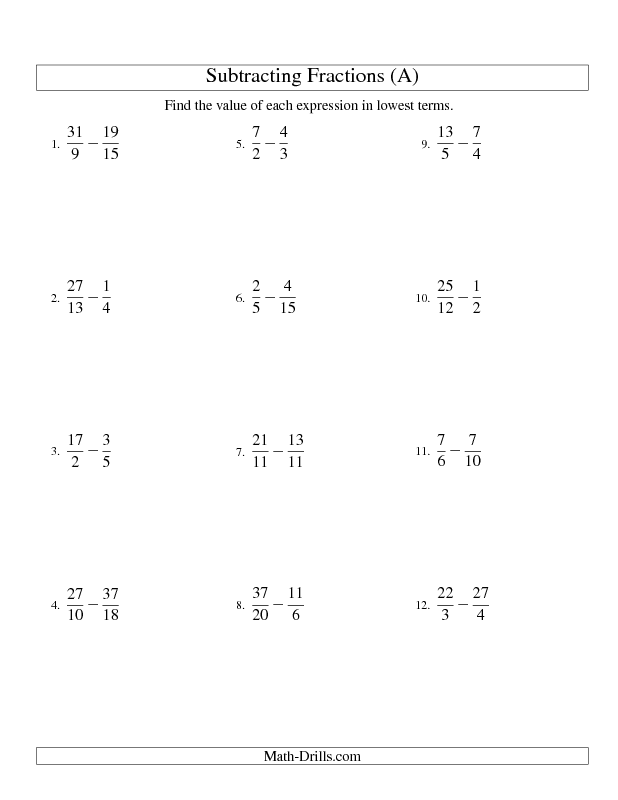 fractions worksheet  subtracting fractions with unlike  fractions worksheet  subtracting fractions with unlike denominators and  some improper fractions and mixed fraction results a