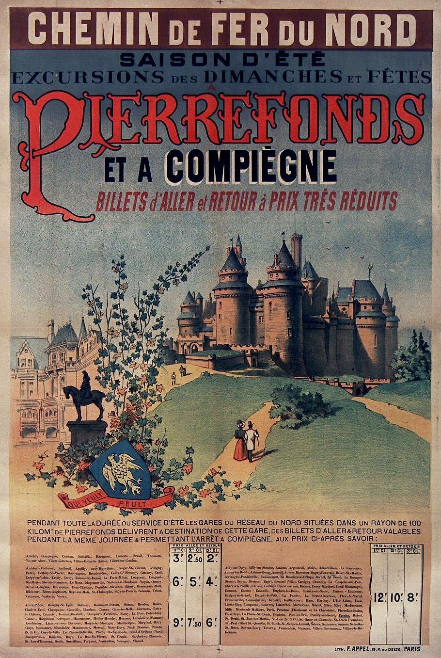 Non Identifie Pierrefonds Saison D Ete Compiegne Chemin De Fer Du Nord 1890 Affiche De Voyage Vintage Affiches De Voyage Retro Affiches De Voyage