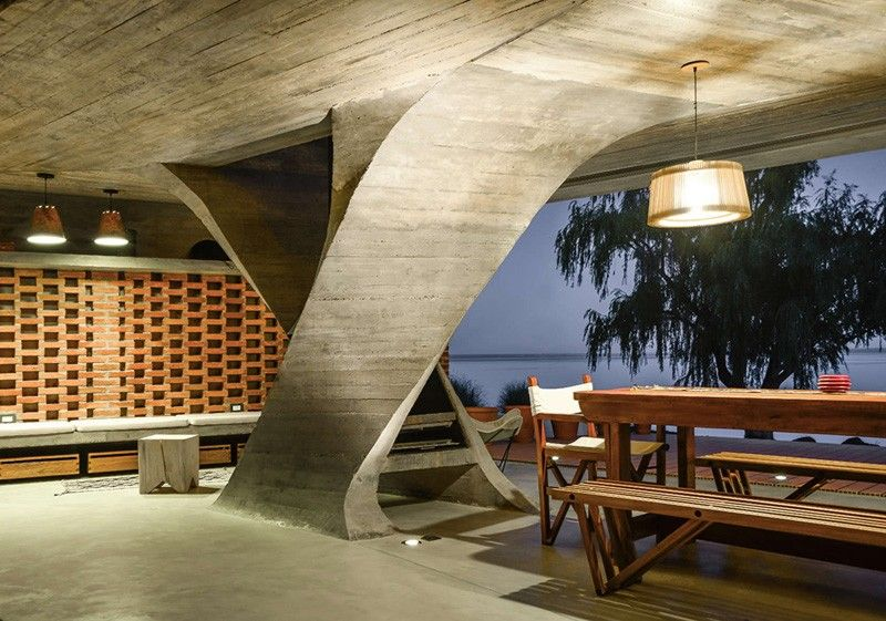 spectacular contemporary columns. Sculptural Twisted Concrete Columns Shaping a Modern Residence in
