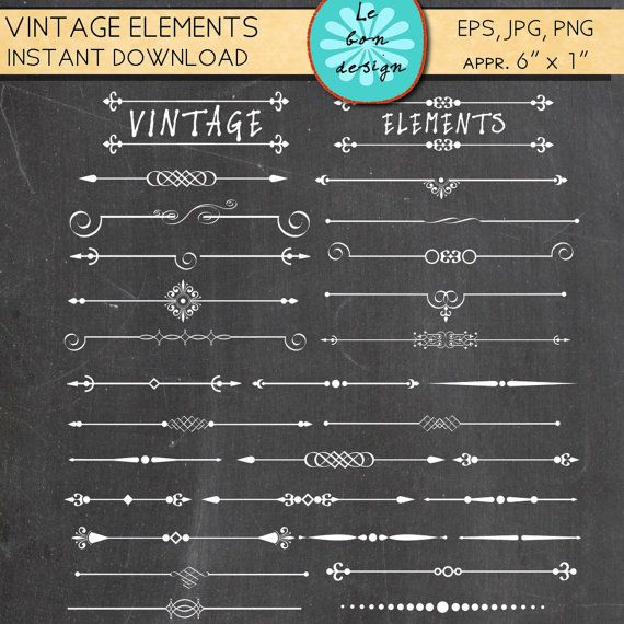 Text divider Clip Art 63 vintage design elements chalk board ...