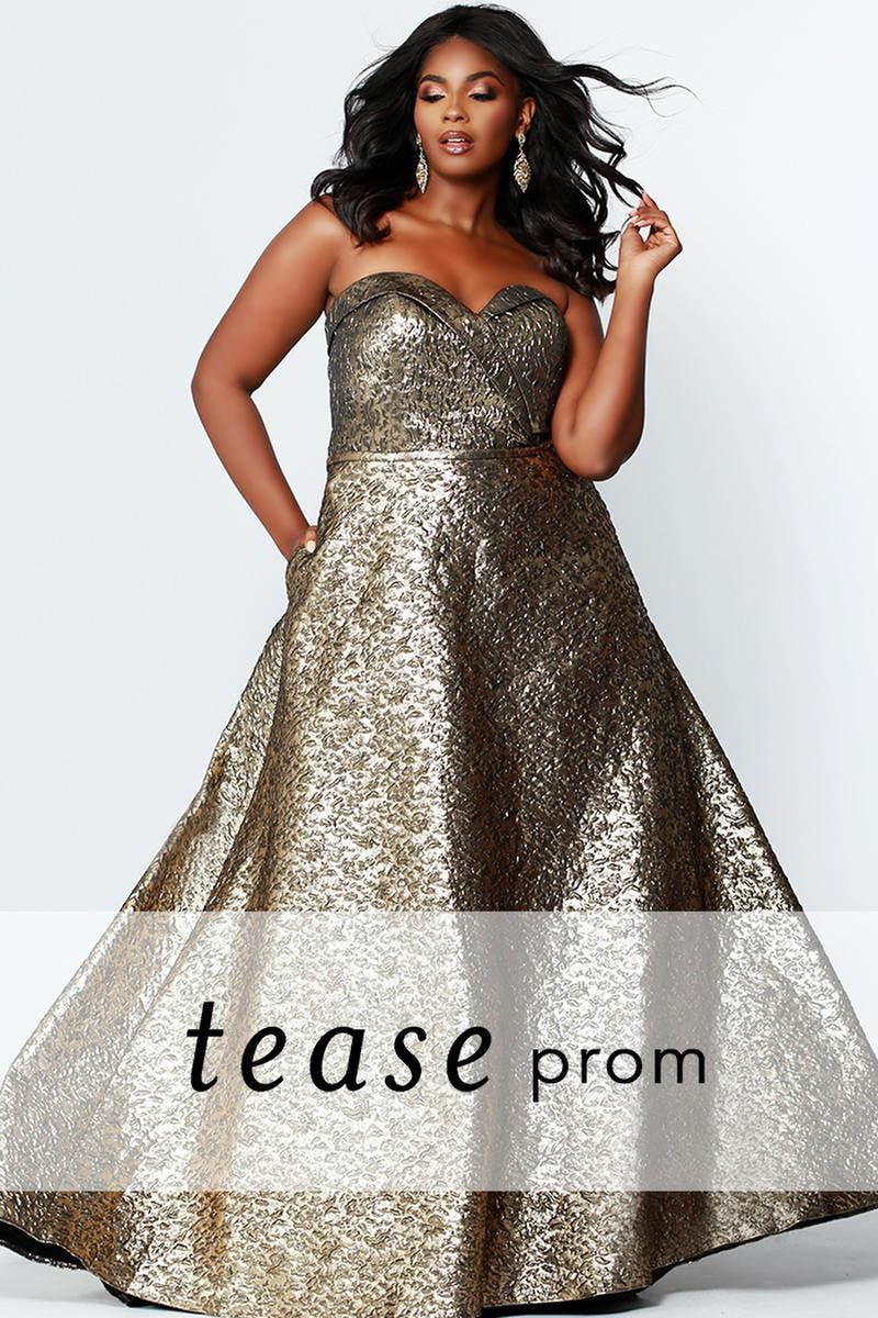 Sydneys Closet Te1919 Tease Foil Jacquard Gown Dresses Strapless Dress Formal Plus Size Gowns