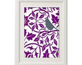 Unframed Floral Bird Inspired Vintage/ Modern  Art Print  - 8x11 Print - Purple White UnFramed.