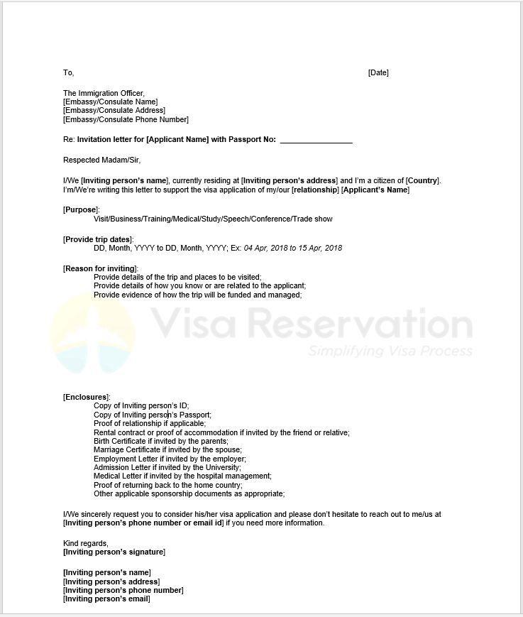 sponsorship letter visa letter sample