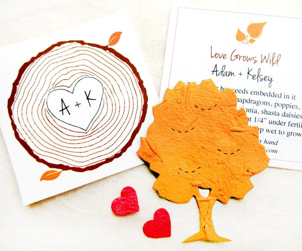 Plantable Seed Paper Trees Woodland Wedding Favors Tree Ring