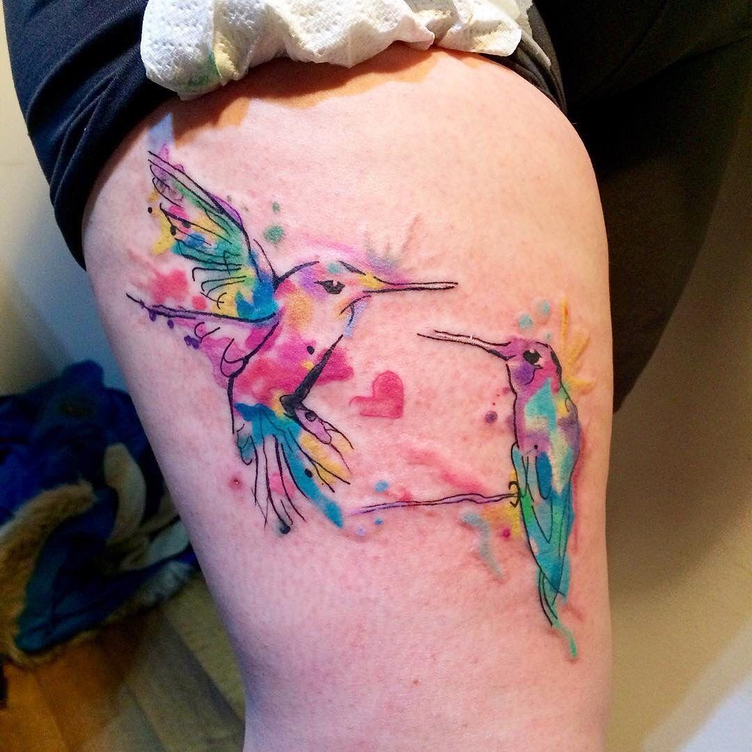My watercolour tattoo by Kym Munster Hummingbird tattoo