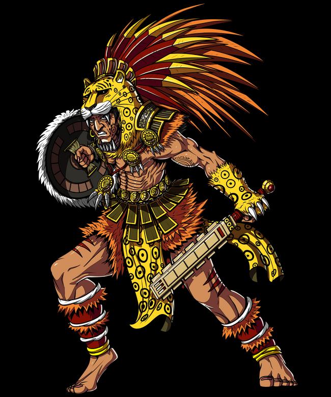 Aztec Jaguar Warrior Indian Native Mexican Art Print By Moon Ape X Small Aztec Tattoo Aztec Warrior Aztec Art