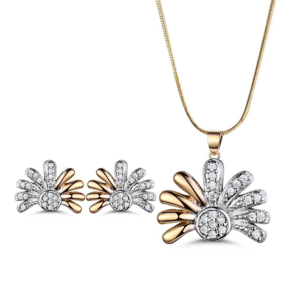 Huche jewelryset flower gold filled diamond stainless steel