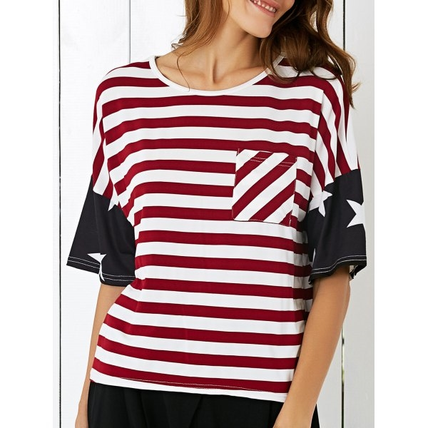 13.22$  Watch now - http://die98.justgood.pw/go.php?t=189022001 - Casual Single Pocket Star Print Striped T-Shirt
