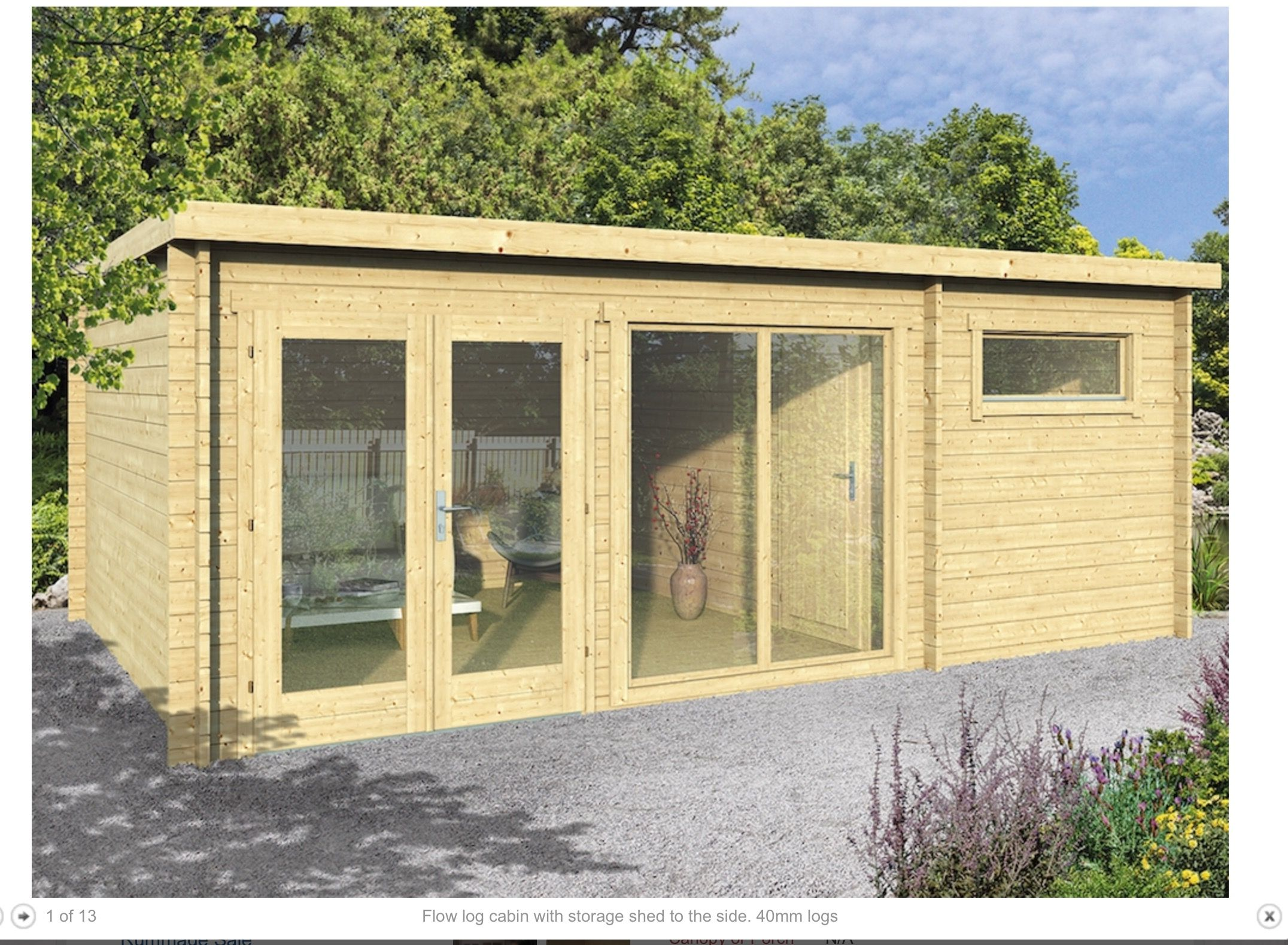 Tuin or garden buildings direct FLOW log cabin or BillyOh ...