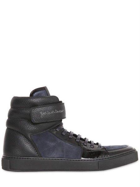 5db4ae8d90b8 Men s Black Malibu Velcro Suede Leather Sneakers