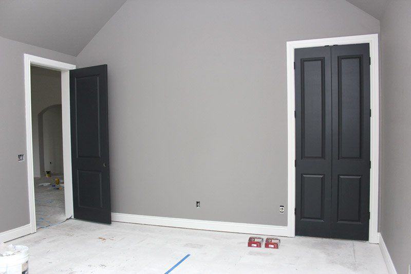 grey painting interior doors for bedroom | Gray walls, white trim, black doors | WefollowPics ...