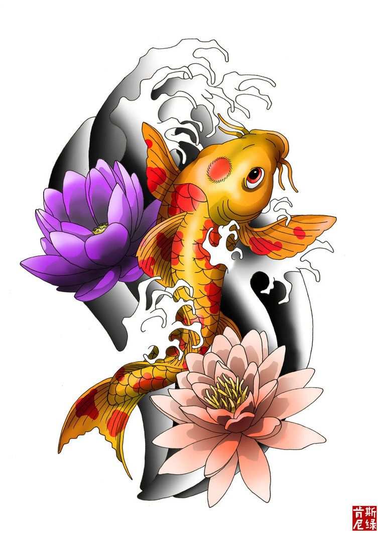 la carpa koi y diseo lotus tatuaje foto