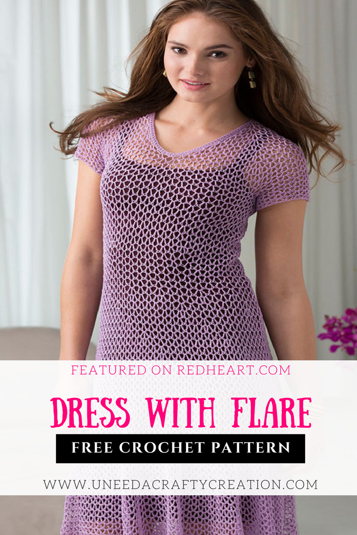 Dress With Flare Free Crochet Pattern - Featured on redheart:com: An ...