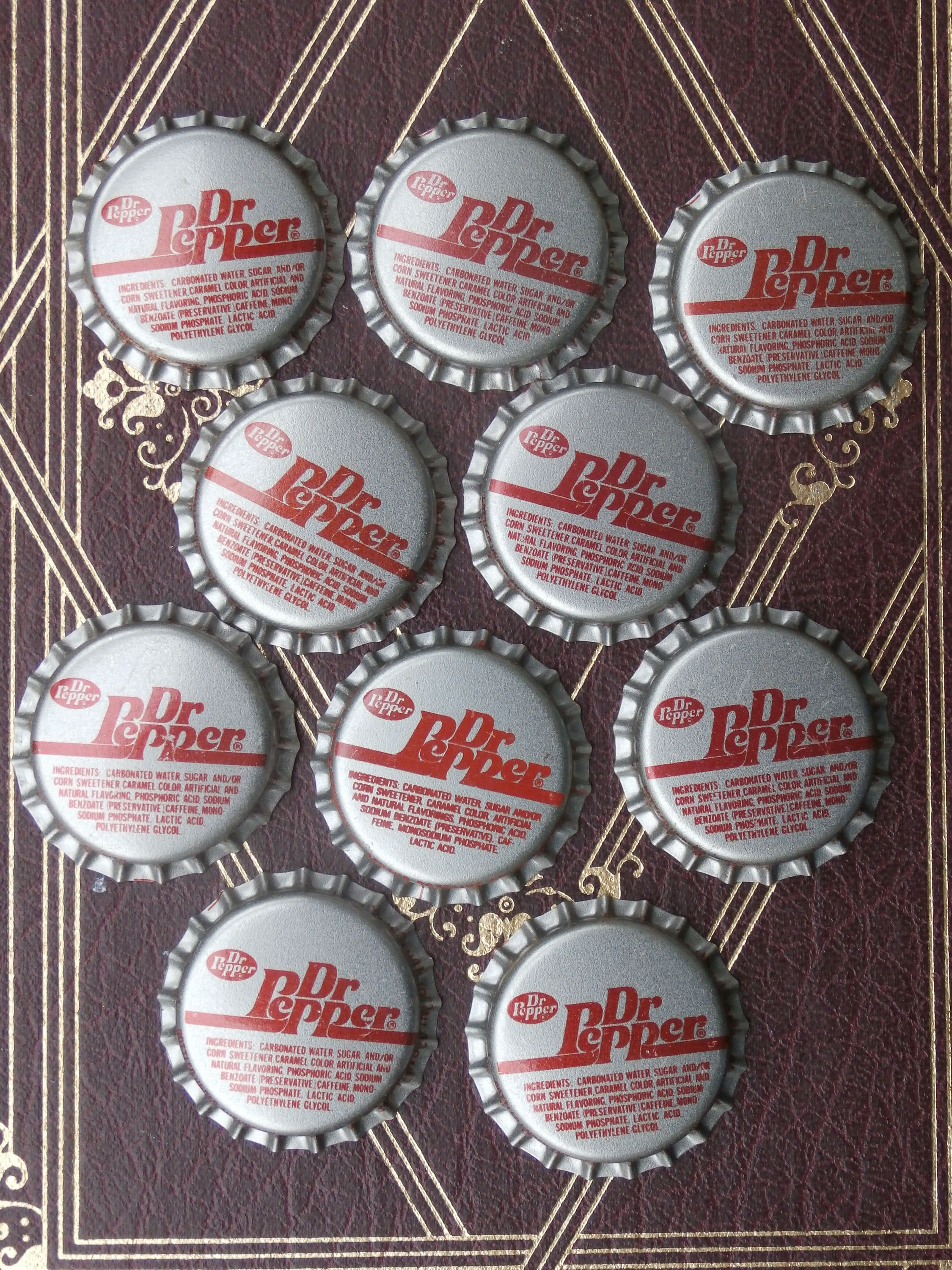 Lot of 10 Dr Pepper Bottle Caps, for Crafting or
