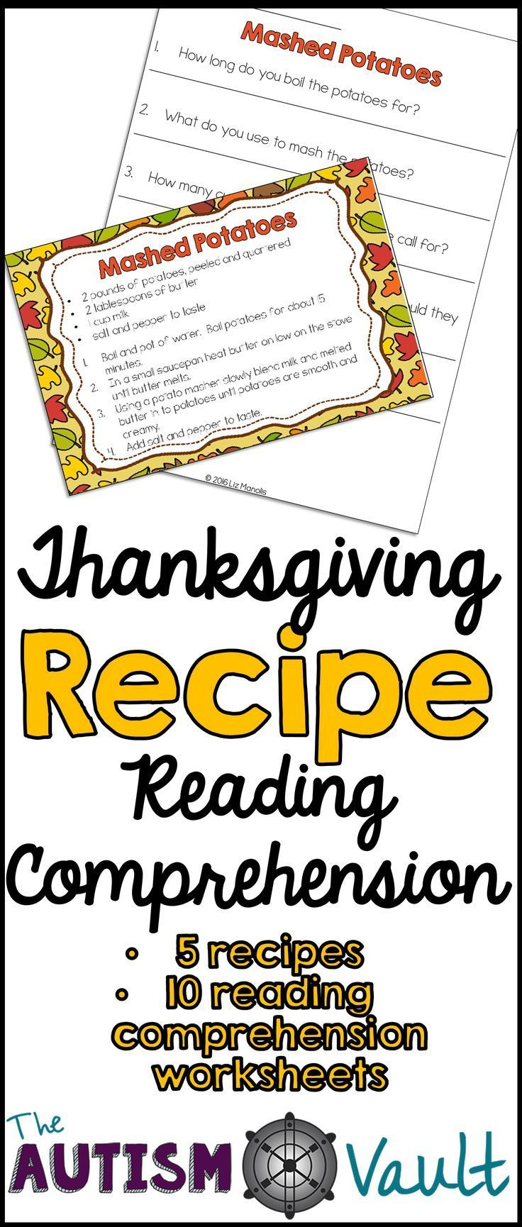 worksheet Functional Reading Comprehension Worksheets thanksgiving recipe reading comprehension functional literacy target and life skills all in one with this resource