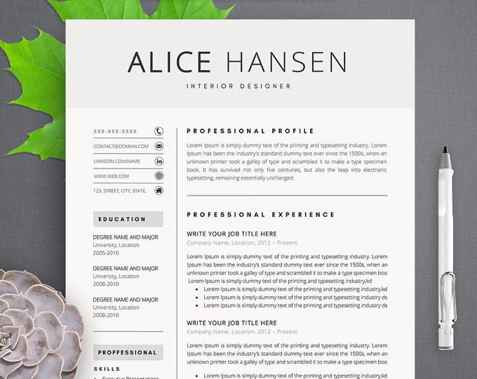 Alice Modern Resume Template \/ CV Template + Cover Letter   Professional  Teacher Resume Template  Professional Teaching Resume