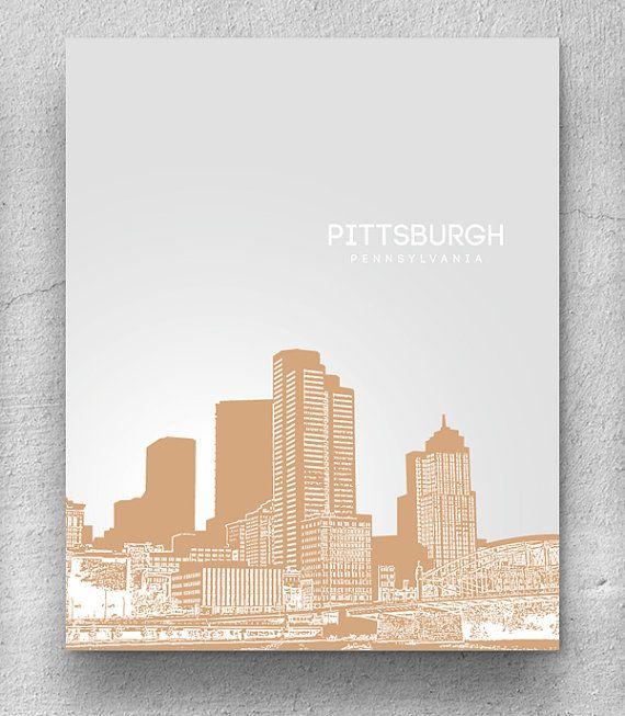 Home Decor Pittsburgh Pa: Home Decor Skyline Art / Pittsburgh Skyline Poster / Any
