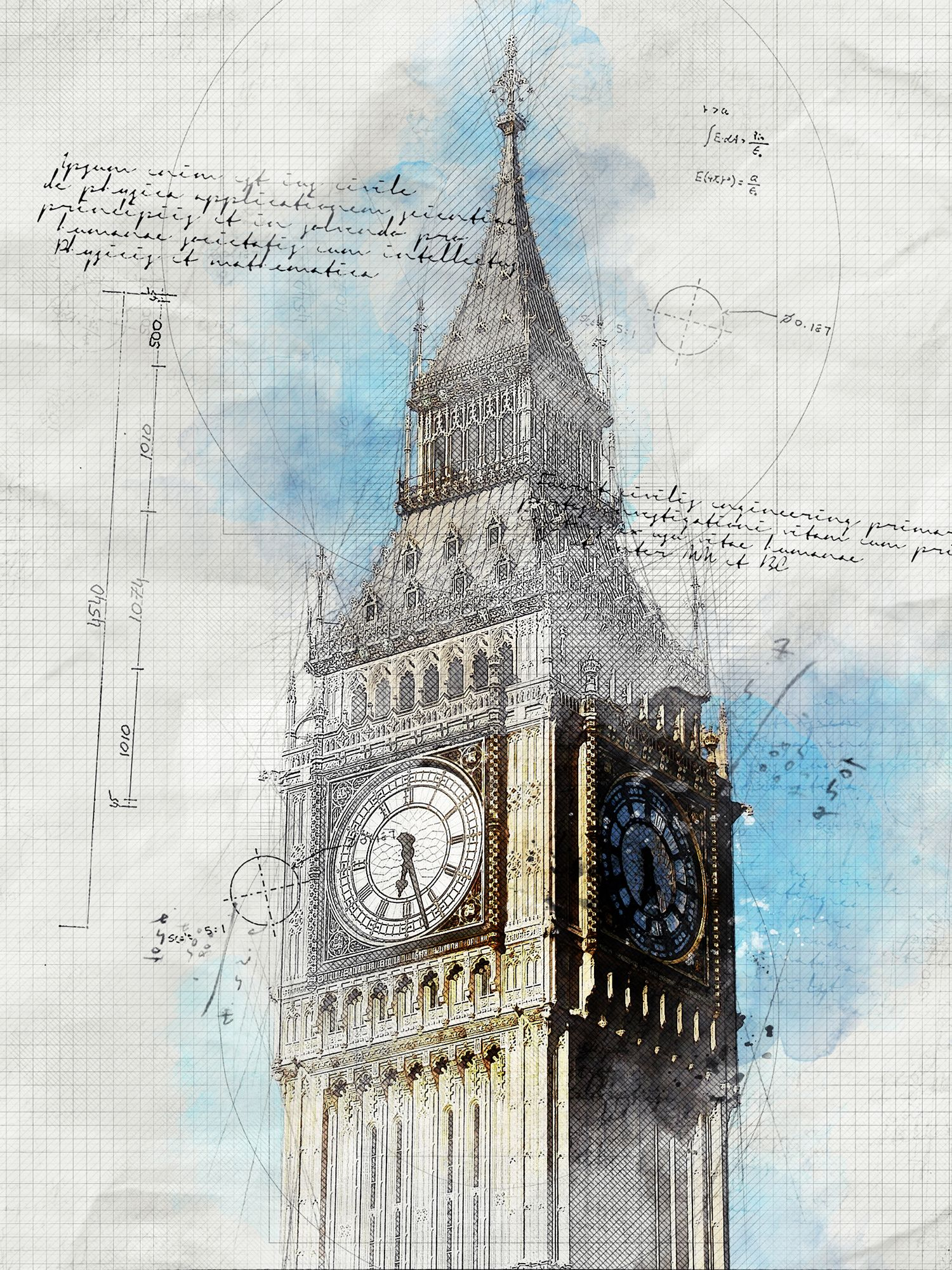 Architecture Sketch And Blueprint Photoshop Action Aff Sketch