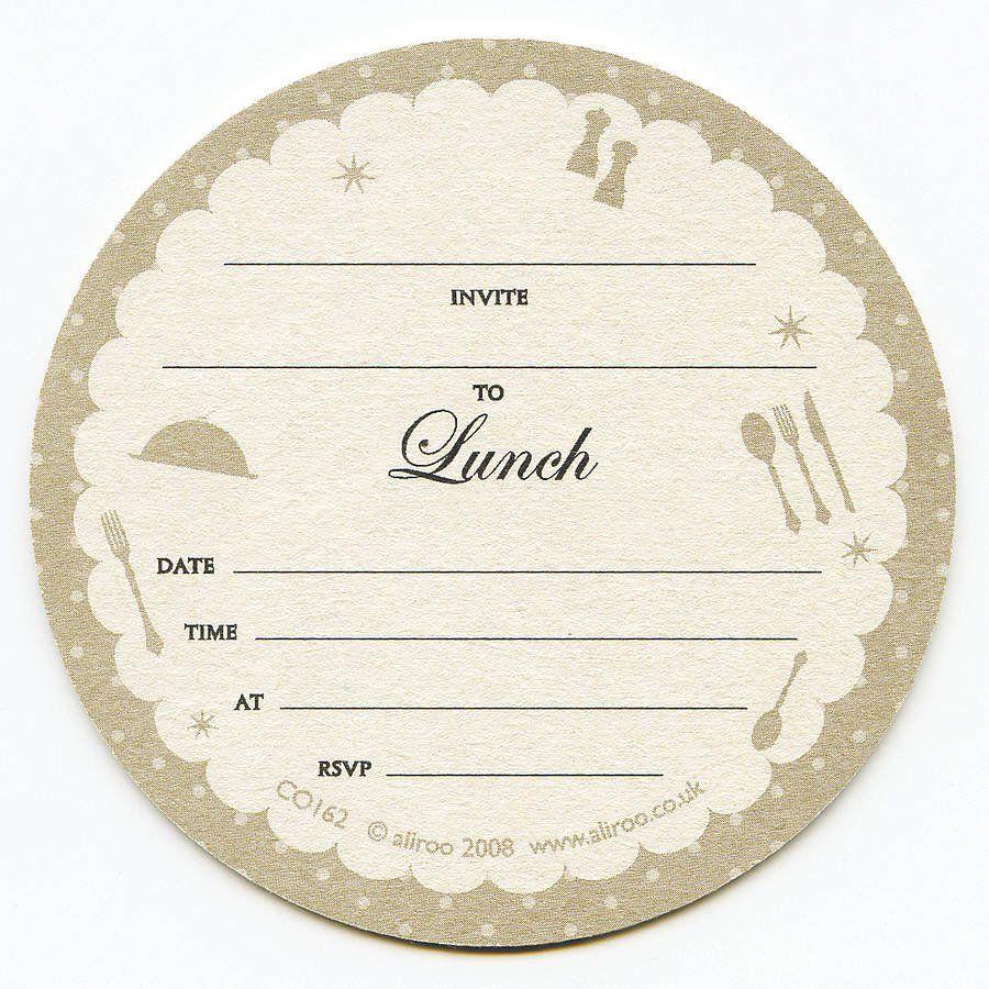 Free Lunch Invitation Template Beautiful Lunch Coaster Invitations