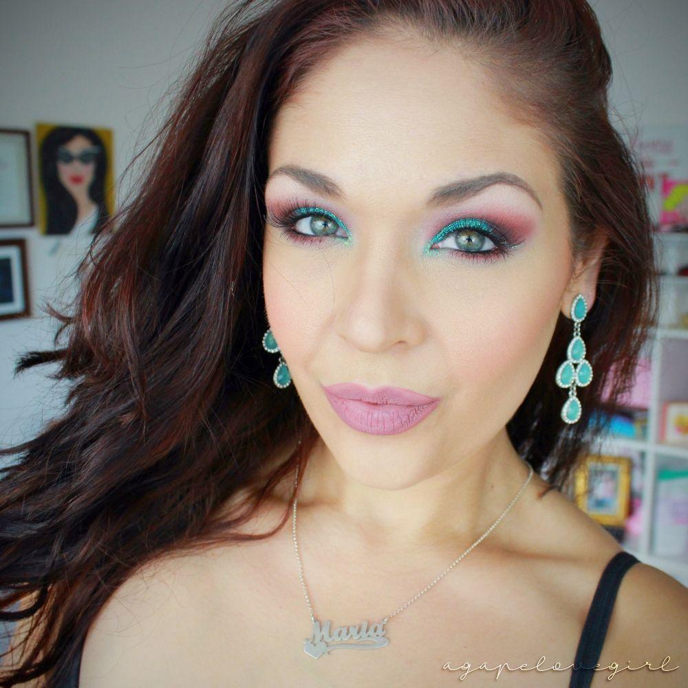 Sound of music wedding dress  Agape Love Designs Sultry Turquoise u Burgundy Glitter Eye Makeup
