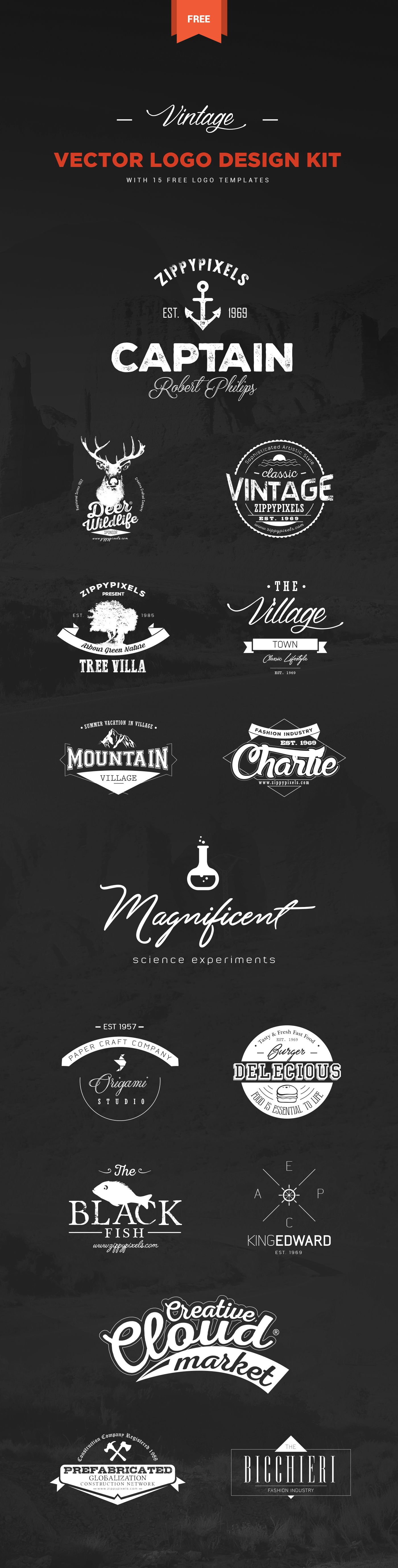 this free vintage logo design kit includes 15 beautifully crafted