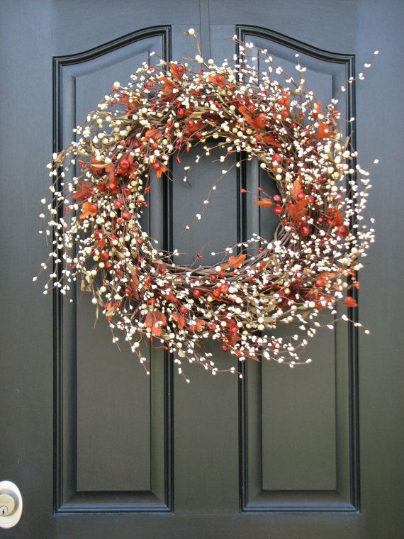 Autumn Wreath - Pumpkins and Cream Berry Wreath with Leaves for Fall