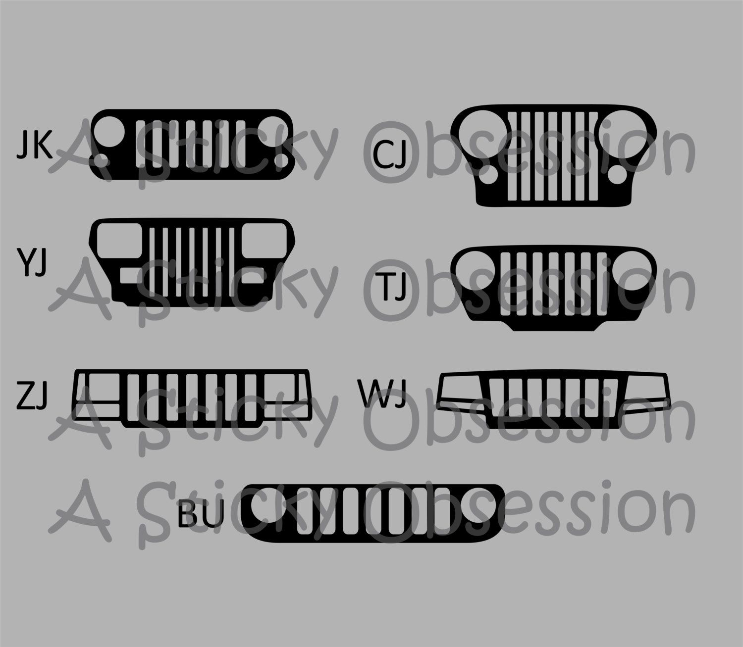 Jeep Wrangler Yj Grill Decal