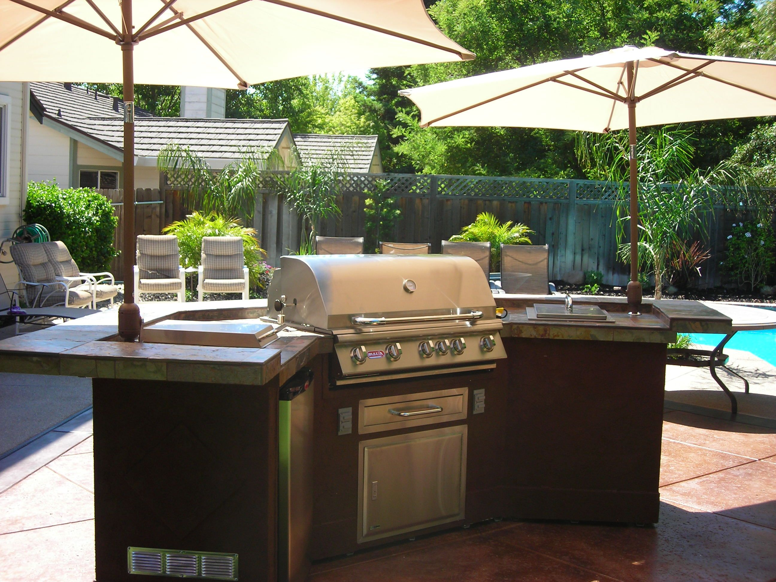 Patio Kitchen Islands Bbq Island With Umbrellas Barbecue Islands Bbq Island Patio